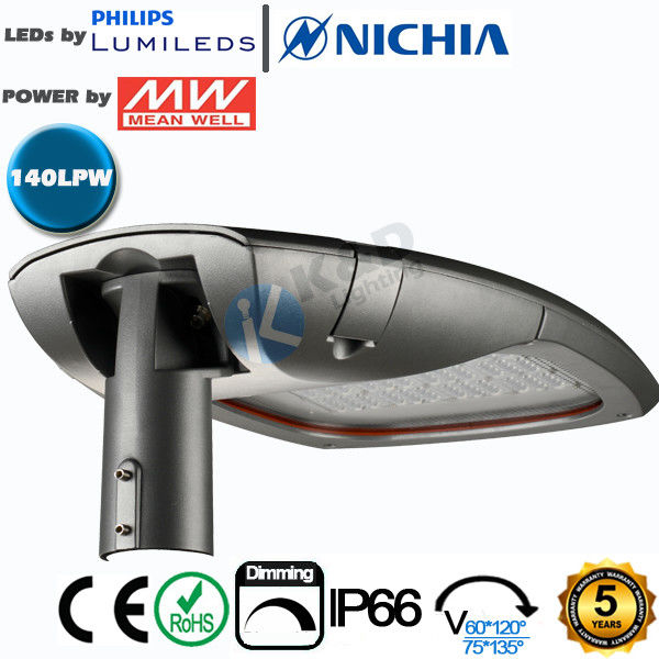Security Intelligent LED Roadway Luminaire IP66 140Lm/W Efficiency 240 Watts